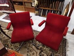 Bársony huzatú, krómozott acél fotel pár