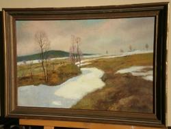 Ismeretlen festő (20.sz.közepe) : Hóolvadás