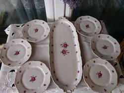 Antik Zsolnay süteményes készlet