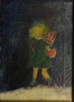 Anna Margit eredeti festménye: Lány virágcsokorral - leárazáskor nincs felező ajánlat