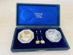 Ezüst Angol sterling 2 db  fűszertartó 2 db ezüst kanállal dobozában