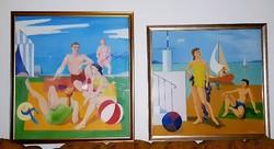 Medveczky Jenő (1902-1969) - Balaton strand 140x130cm és 130x125cm festmény 2db