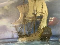 Hajós tájkép fára festve