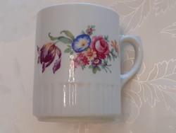 Régi Zsolnay porcelán bögre tulipános népi teás vintage csésze