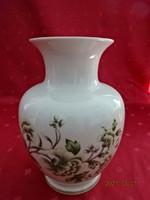 Hollóházi porcelán váza, zöld mintás, magassága 17,5 cm.