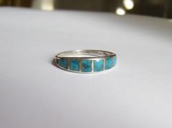 Ezüst gyűrű, valódi türkiz betétekkel