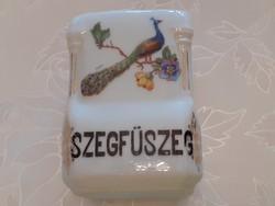Régi porcelán fűszertartó szegfűszeg pávás fűszeres