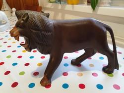 Gyönyörű fa oroszlán szobor eladó! Üvöltő oroszlán szobor