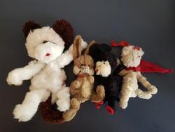 Négy dara retró drótállat, plüss, kutya, nyúl, egér, uszkár együtt