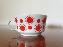 Retro Alföldi porcelán piros mintás régi teás bögre 1 db