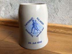5. Internat Ralinger Sauertal Volkslauf 25.07.1992 kerámia sörös korsó  6.