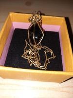 Antik, aranyozott onix köves, rögmedálos nyaklánc