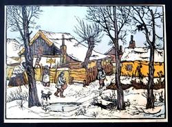 Gácsi Mihály (1926-1987): Január - színes linóleummetszet