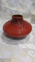 Zsolnay ritka repesztett mázas piros eozin váza