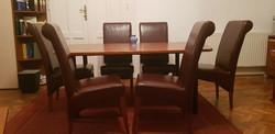 Tágyalóasztal  6 db bordó bőr székkel