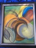 Keretezett absztrakt festmény ismeretlen művésztől .