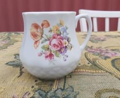 Drasche Kőbányai Porcelán virágos hasas porcelán  bögre nosztalgia darab paraszti dekoráció
