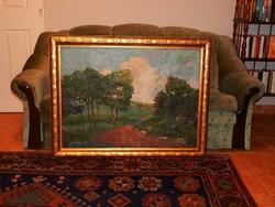 100 x 70cm-es olaj-vászon festmény keretben,  a XX. szd. első feléből