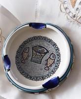 Arab kézműves kerámia hamutál, kézzel festett, halas mintás, eredeti, hibátlan