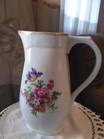 Zsolnay teás kanna, meisseni virág mintával