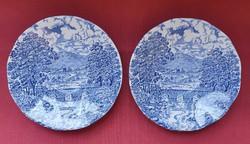 Angol jelenetes kék porcelán csészealj kistányér