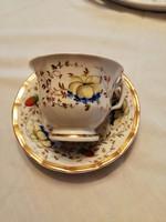 Kézzel festett 1800 eleji kávés csésze aljjal