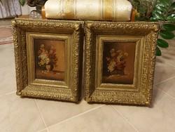 Antik gyönyörű Biedermeier festmény páros!