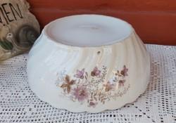 Gyönyörű ritka csavart gyöngyös virágos porcelán  pogácsás  paraszttál tál  Gyűjtői darab 21