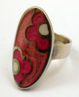 Modern 925-ös ezüst gyűrű érdekes rózsaszínes tűzzománc