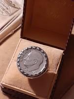 Ezüst foglalatban Franklin Roosevelt érme ezüst gyűrű,  liberty 1965