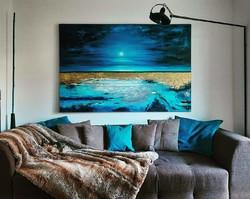 Szalai Krisztián: Balatoni naplemente. Absztrakt , 120x180cm olajfestmény