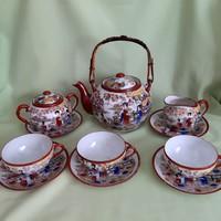 Japán, keleti teás-kávés készlet, tojáshéj csésze, teáskanna, cukortartó, tányérok