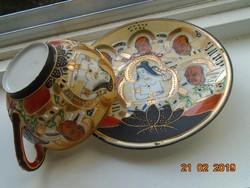 Satsuma Moriage Suzuki,Kannon és Rakan minta,tojáshéj litofán kávés csésze alátéttel