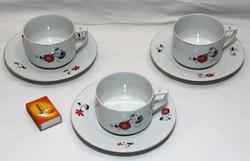 Drasche porcelán teás csészék aljjal 3 szett együtt