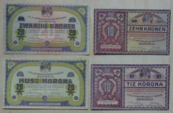 Somorja I világháború hadifogolytábor 10, 20 korona 1916 aunc hajtatlan bankjegy