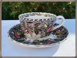 Antik francia Opaque Utzschneider & Co, Sarreguemines fajansz teás csésze szett