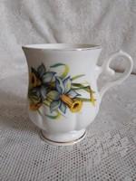 Jelzett, angol talpas, virágos teás bögre