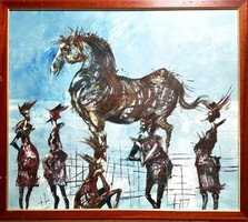 Győrfi András - Lovat csodálók 70 x 80 cm olaj, farost 1997