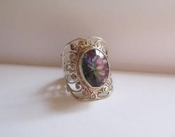 Varázslatos mystic topáz, nagy, széles ezüst gyűrű