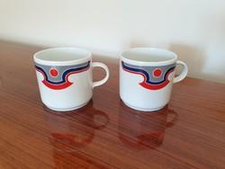 Retro Alföldi porcelán bögre piros kék mintás régi teás csésze 2 db