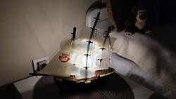 Bolgár világító hajó eredeti dobozával egyedi ritka régi retró szuvenír ajándék