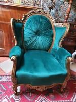 Felújított barokk stílusú fotel