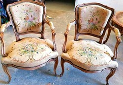 Barokk  gobelines fotel pár