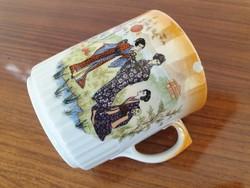 Régi Zsolnay porcelán keleti jelenetes eozinos bögre teás csésze