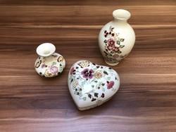 Csodaszép Zsolnay Porcelán Szett - Virágos Pillangós Váza Szív alakú Bonbonier sorszámos jelzett