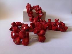 Vörös korall nyaklánc karkötő szett