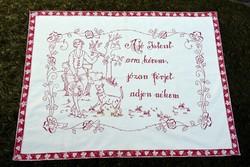 Antik néprajzi hímzett kézimunka hímzés mintás szöveges magyar falvédő dekoráció 91 x 68 cm