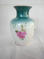 Hollóházi porcelán rózsás váza