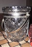 Gyönyörű hibátlan antik kristály jégkocka tartó fém (réz?) fogantyúval