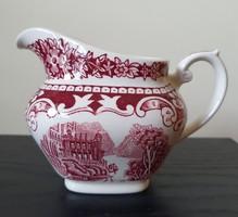 Old England angol jelenetes bordó porcelán kiöntő mártásos szószos